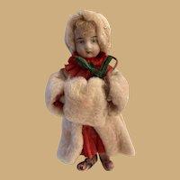 German Antique Christmas Child cotton bisque figure Ornament