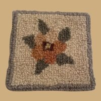 Small antique doll house miniature hooked Rug Carpet
