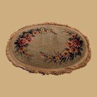 Antique doll Vignette large doll house oval plush Carpet Rug