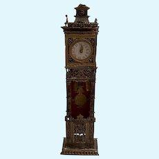 Antique German Miniature Doll House Asphaltum finish Filigree early tall case Grandfather Clock