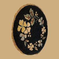 Antique doll Vignette large doll house oval floral Carpet rug with Fringe