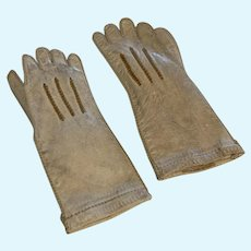 Antique French Fashion doll kid leather gloves