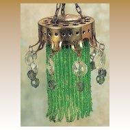 Antique German miniature doll house gilt metal beaded green crystal chandelier