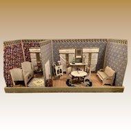 Antique Gottschalk French miniature doll house 2 rooms box for Mignonette