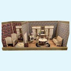 Antique Gottschalk French miniature doll house room box Mignonette