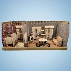 Antique Gottschalk French miniature doll house 2 rooms box for Mignonette