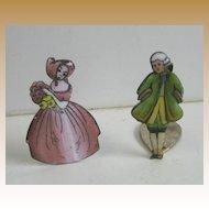Porcelain antique enamel miniature couple place card holders
