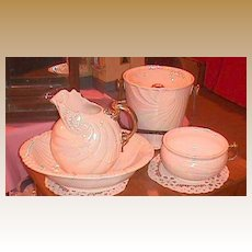 Unusual German white luster & gold antique chamber set Beach shell design