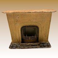 Antique doll house miniature metal Marklin fireplace