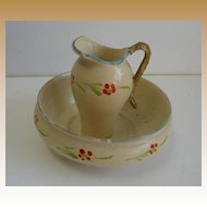 Antique German miniature doll house Treenware floral pitcher & bowl set
