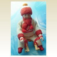 Gebruder Heubach sledder doll antique Christmas Candy Container small size