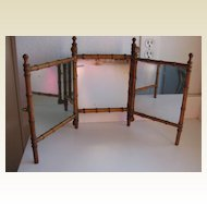 Antique French Faux Bamboo Maplewood  triple mirror