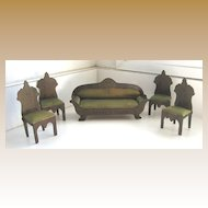 Antique miniature German Boule Biedermeier furniture Parlor set