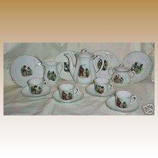 Antique Sporting Bears child's 28 piece German dinner tea set
