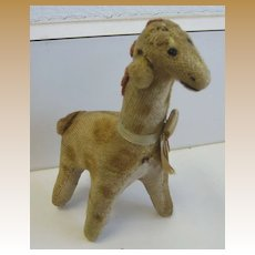 Antique toy small plush animal Giraffe