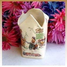 Child's antique French Sarreguemines Majolica Cinderella Vase