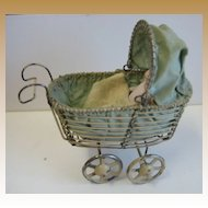 Antique German miniature Wire Carriage Buggy Bisque baby