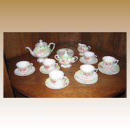RS Prussia child's floral pedestal antique toy tea set service