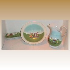 Child's doll Asian Chinese antique toy wash set pitcher bowl toilette set