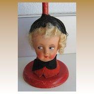 German Antique doll head red hat stand Papier-Mâché head