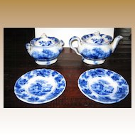 Victorian Child's antique Flow Blue tea set serving pieces