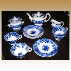 Antique Basket English Flow Blue Child's toy tea set c1850