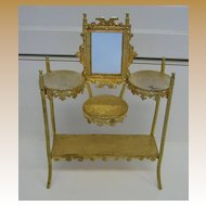 Antique miniature doll house furniture German Erhard & Söhne Ormolu rare Étagère mirror