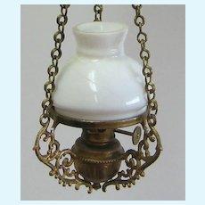 Antique German gilt metal Bristol shade rare gas lamp doll house chandelier