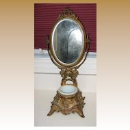 Antique Art Nouveau gilt metal shaving stand beveled adjustable mirror