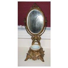 Antique Art Nouveau gilt metal shaving stand beveled adjustable mirror