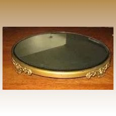 Antique beveled Gilt metal Plateau large display Mirror