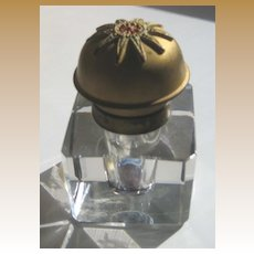 Antique gilt decorative metal top crystal glass French empire style  inkwell