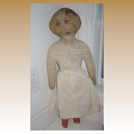Antique Printed rag Litho face body cloth fabric doll 24""