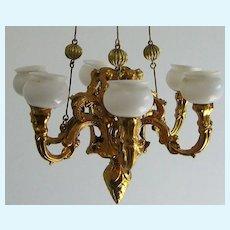 Antique German miniature doll house Ormolu extra large gas light chandelier