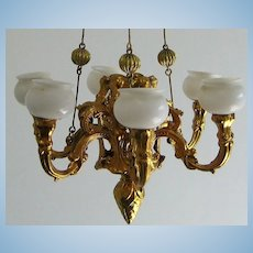Antique German miniature dollhouse Ormolu extra large gas light chandelier