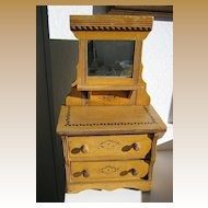 Stenciled oak antique doll dresser with mirror