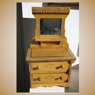 Stenciled oak antique doll dresser with mirror