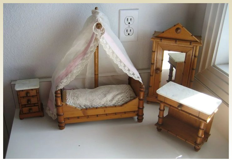 Antique doll toy miniature furniture French Faux bamboo bedroom set - Antique Doll Toy Miniature Furniture French Faux Bamboo Bedroom