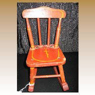 Antique doll wood red stenciled chair
