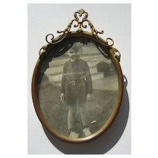 Antique Oval Decorative Ribbon top Brass picture frame