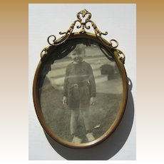 Antique Oval Decorative ribbon top picture frame