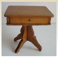 Antique German Schneegas doll house miniature wood sewing table