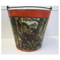 Antique Paper litho Nursery Rhyme bucket pail Snow White Hansel Gretel Red Riding Hood