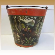 Antique Paper litho Nursery Rhyme bucket pail Snow White Hansel Gretel Red Riding Hood