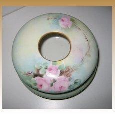 Antique French Porcelain handpainted floral hair receiver powder jar