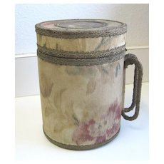 Antique unusual metal glass insert Acme Water Cooler tapestry Pitcher c1895