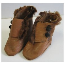 Antique French Fashion brown leather Doll shoes boots