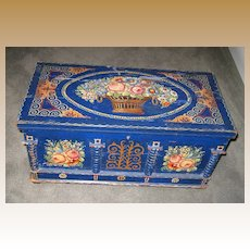 Antique blue Toile floral painted small chest