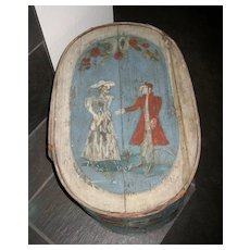 Antique early European bentwood band Toile painted blue Brides box