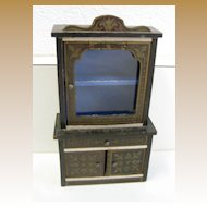 Antique miniature German Boule Biedermeier furniture cabinet